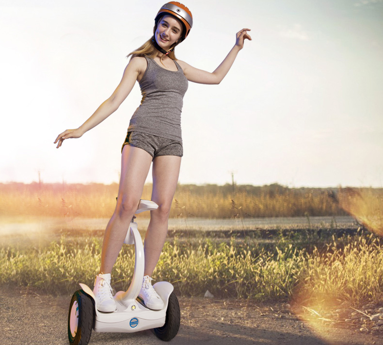two wheel saddle-equipped self-balancing scooter