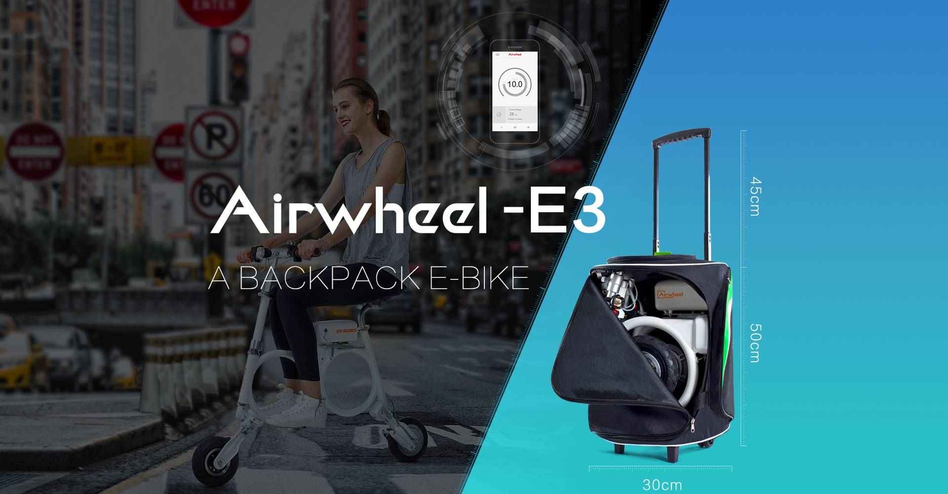 Airwheel E3 foldable backpack electric bike