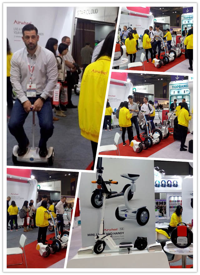 Bustling scene about Airwheel at booth 3C18, Hall 3 on Hong Kong Global Sources Electronics