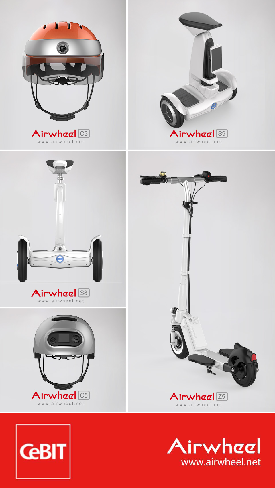 six self-balancing electric scooters