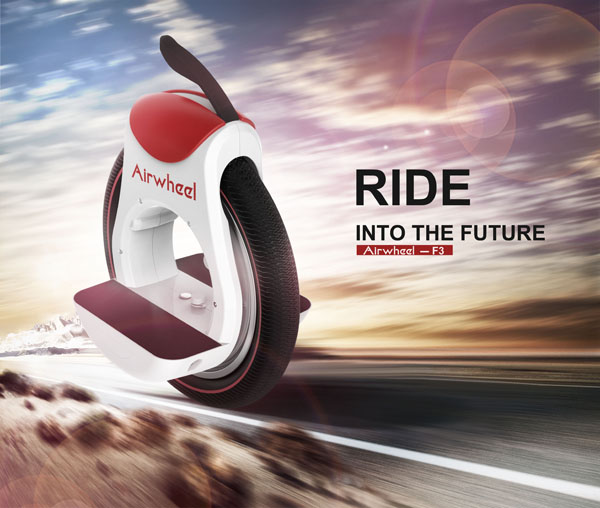A Hot Electric Unicycle Airwheel F3 with Annular Design Dazzles Passerby's Eyes