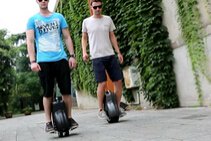 Tired of Bicycling, Trying to Ride an Airwheel Self-balancing Electric Scooters