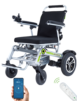 Airwheel H3S power wheelchair is featured by automatic folding system and App remote control