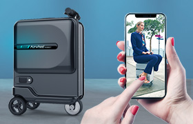 Airwheel SE3Mini riding luggage suitcase can easily convert from motor to pull-behind use.
