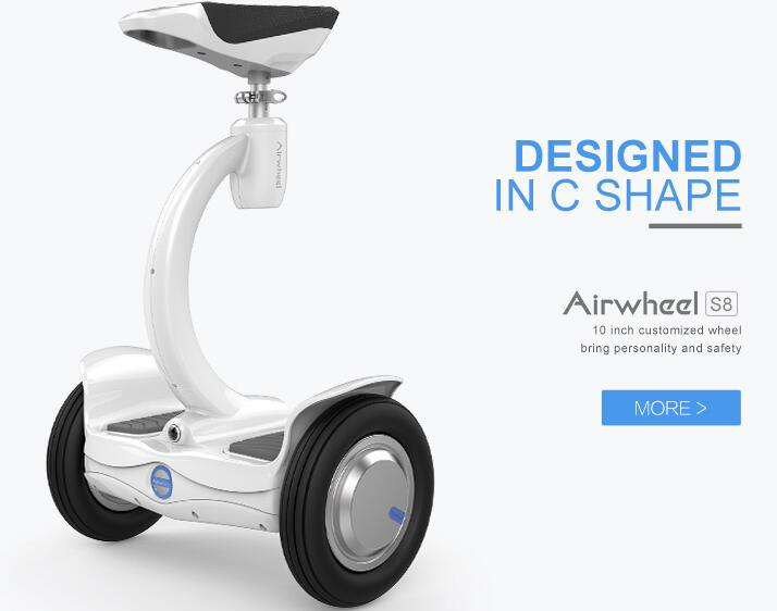 Airwheel S8 is a newly design two wheel saddle-equipped scooter with multi-pose controlling system.